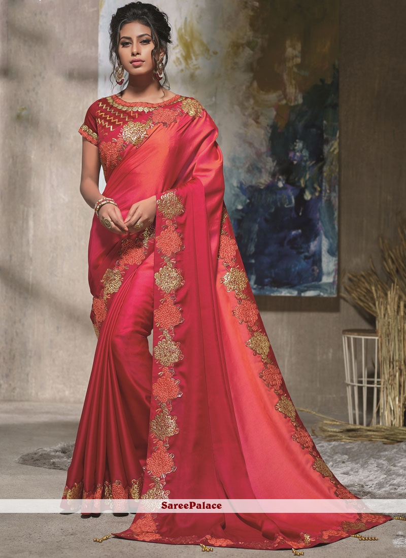 Satin Silk Peach, Pink and Red Embroidered Shaded Saree