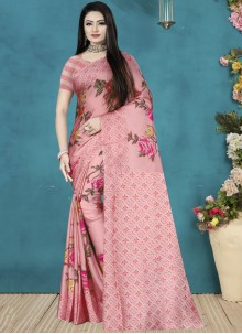 Satin Silk Pink Digital Print Classic Saree