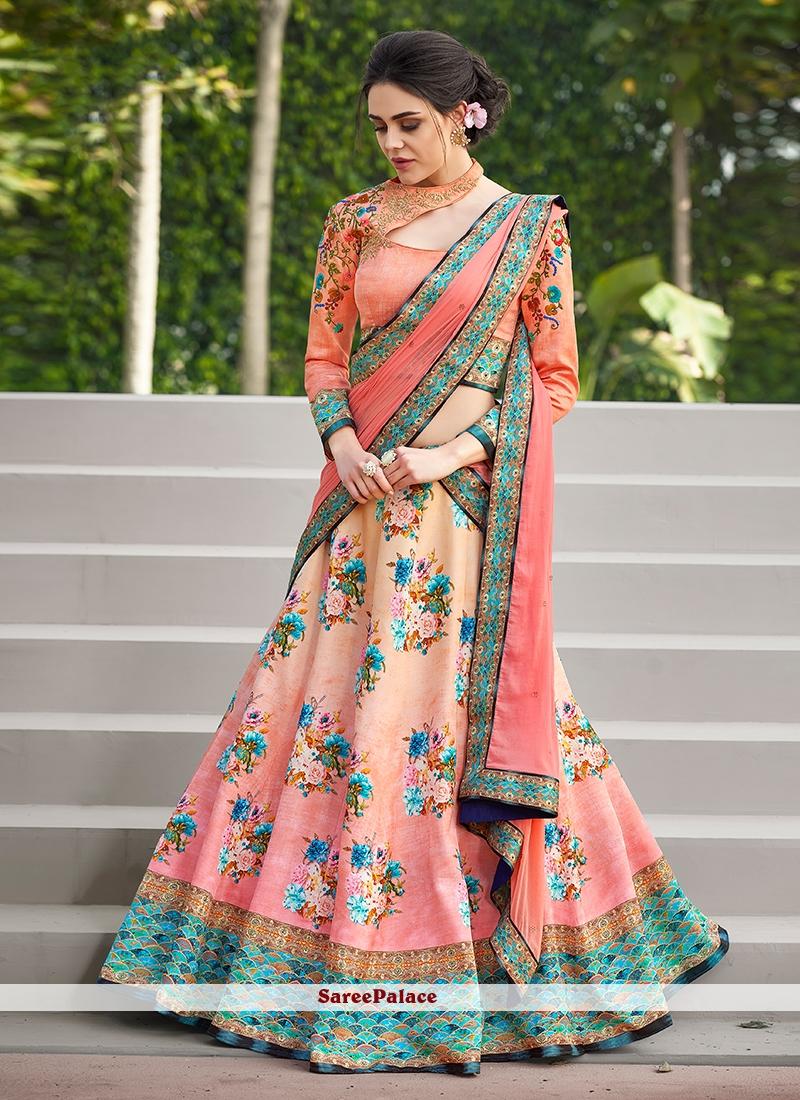 Satin Silk Pink Embroidered Lehenga Choli