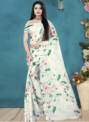 Satin Silk Print Multi Colour Printed Saree