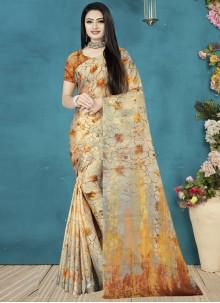 Cream Satin Silk Print Printed Saree