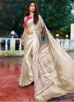 Satin Silk Printed Cream Printed Saree