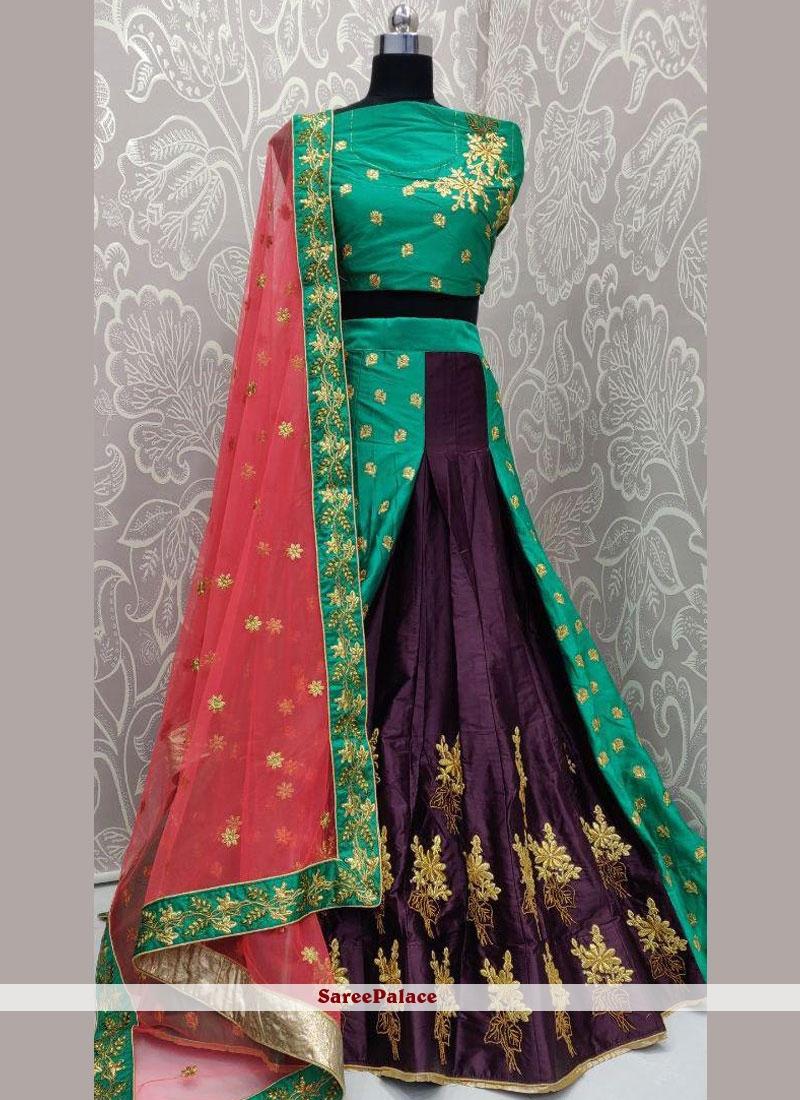Satin Silk Purple Lehenga Choli