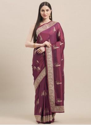 Satin Silk Reception Classic Designer Magenta Saree