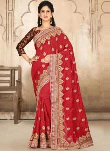 Satin Silk Red Handwork Designer Traditional Saree