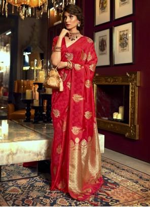 Satin Silk Red Weaving Classic Designer Saree
