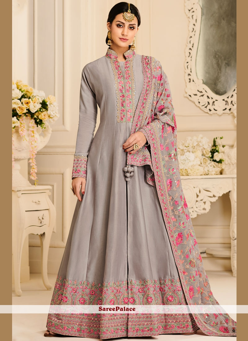 Satin Silk Resham Anarkali Salwar Kameez in Grey