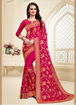 Satin Silk Resham Hot Pink Designer Saree