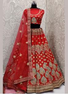Satin Silk Resham Red Lehenga Choli