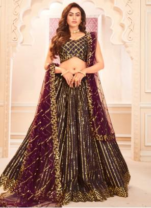 Satin Silk Sangeet Designer Lehenga Choli