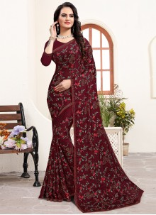 Satin Silk Stone Silk Saree in Maroon