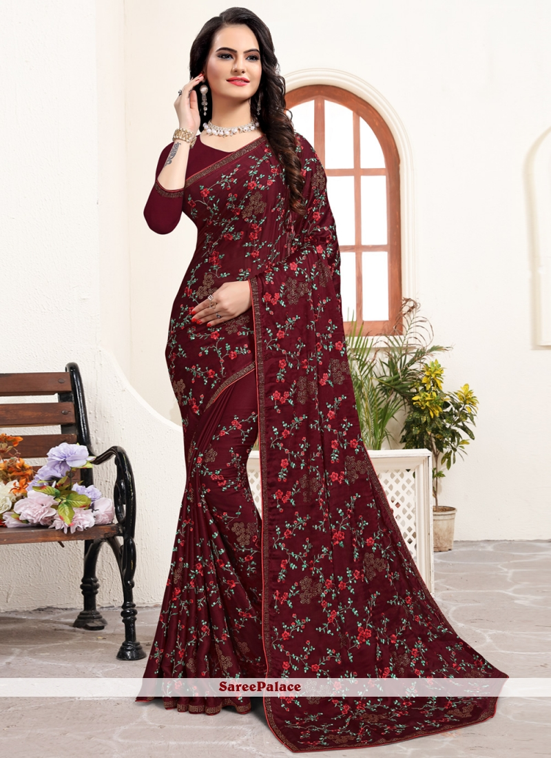 Satin Silk Stone Silk Saree in Maroon