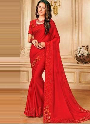 Satin Silk Stone Work Red Designer Saree
