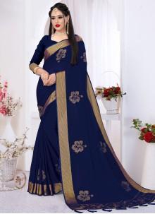 Satin Silk Swarovski Contemporary Saree in Navy Blue