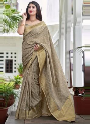 Satin Silk Grey Traditional Saree