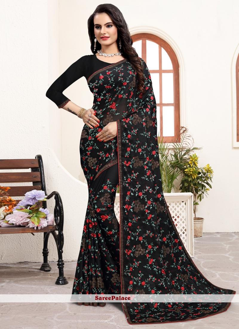 Satin Silk Trendy Saree in Black