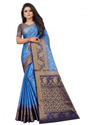 Satin Silk Weaving Blue Silk Saree
