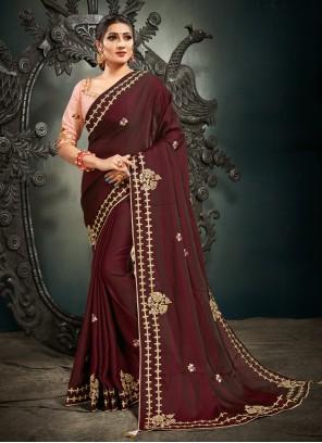 Satin Silk Wine Traditional Designer Saree