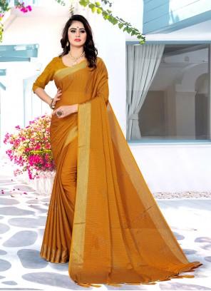 Satin Silk Yellow Swarovski Traditional Saree