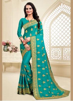 Satin Silk Zari Turquoise Traditional Saree