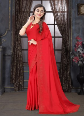 Satin Stone Red Trendy Saree