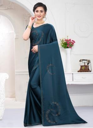 Satin Stone Work Blue Classic Saree