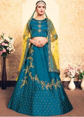 Satin Swarovski Blue Designer Lehenga Choli