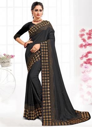 Satin Swarovski Contemporary Saree in Black