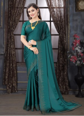 Satin Traditional Designer Saree in Teal