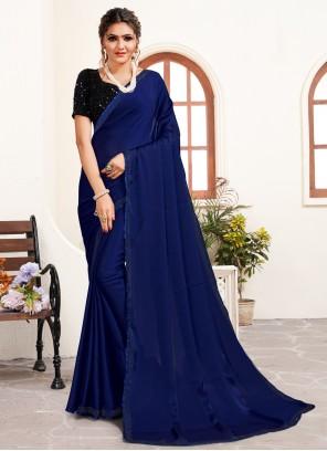 Satin Navy Blue Trendy Saree