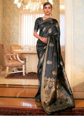 Satin Trendy Weaving Zari Saree in Black