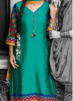 Satin Turquoise Embroidered Work Pant Style Suit