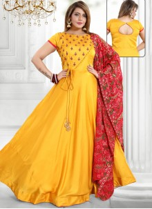 Satin Yellow Readymade Suit