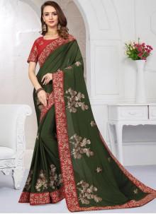 Satin Zari Green Classic Saree