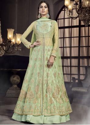 Satin Zari Green Designer Lehenga Choli