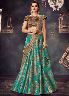 Savory Brocade Green Beads Work Lehenga Saree