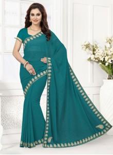 Savory Georgette Blue Designer Saree