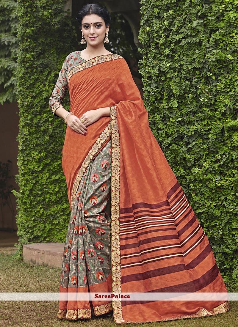 Savory Print Work Handloom silk Printed Saree