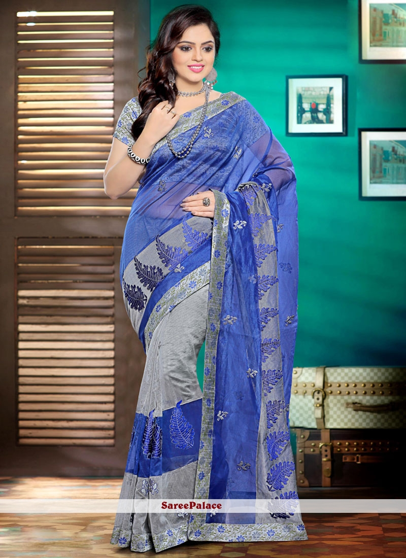 Scintillating Blue and Grey Embroidered Work Saree