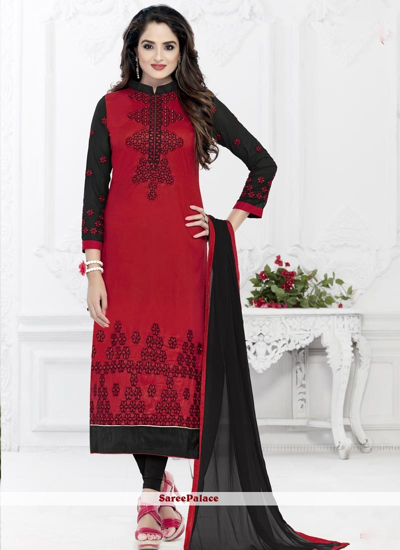 Scintillating Cotton   Maroon Embroidered Work Churidar Suit
