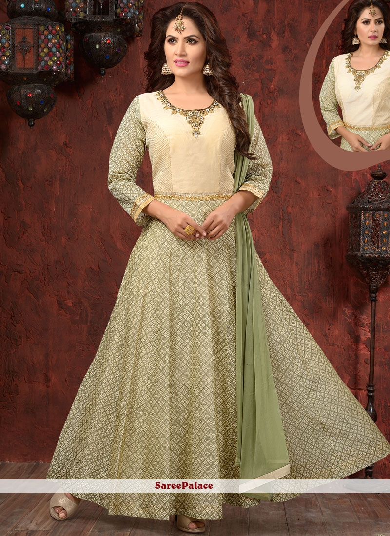 Scintillating Embroidered Work Chanderi Readymade Anarkali Suit