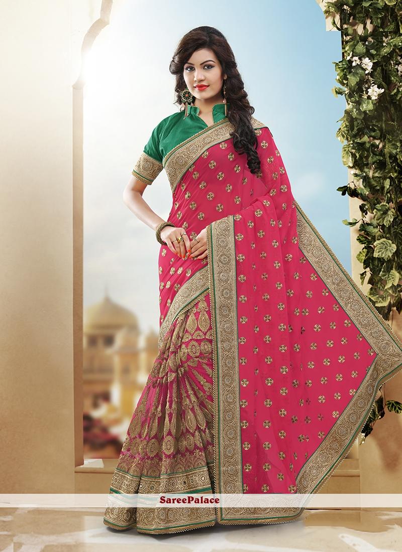 Scintillating Hot Pink Patch Border Work Net Designer Half N Half Saree