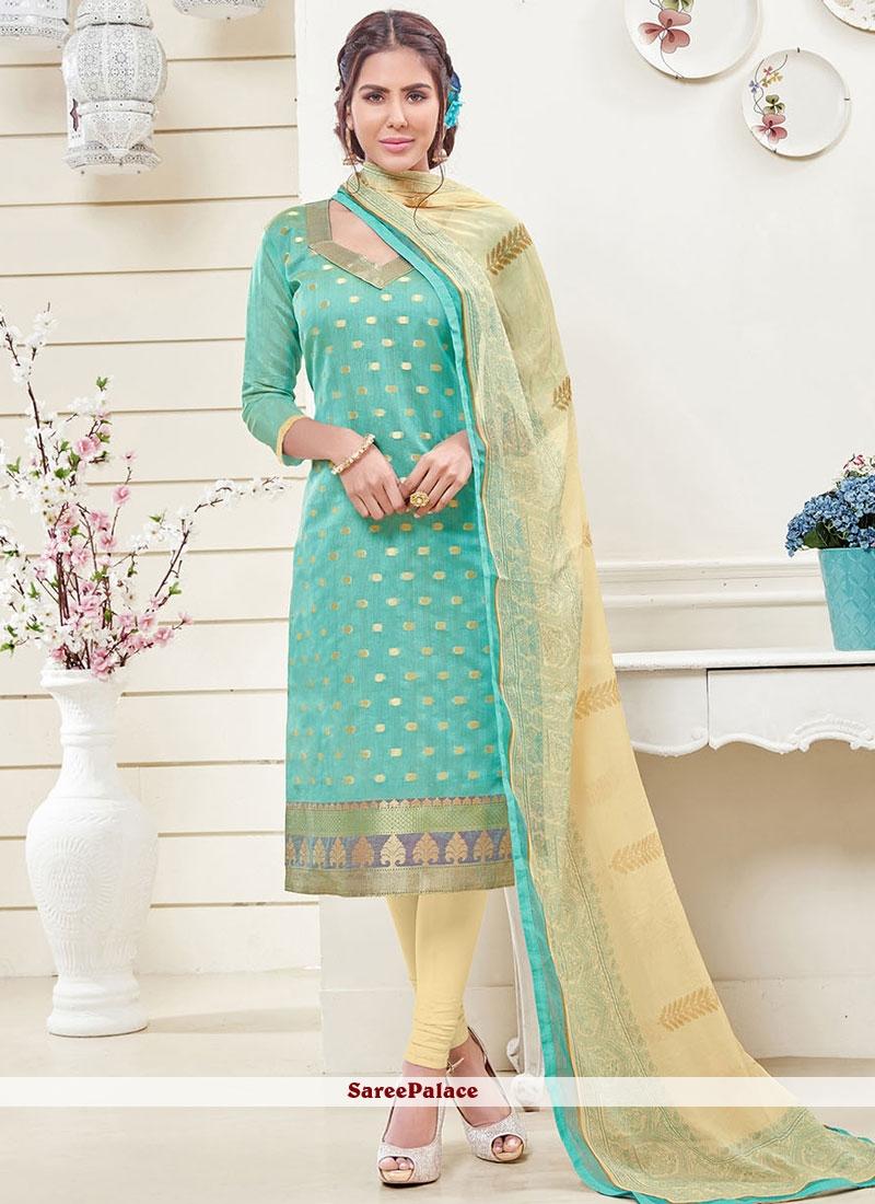 Scintillating Lace Work Turquoise Banarasi Silk Churidar Designer Suit