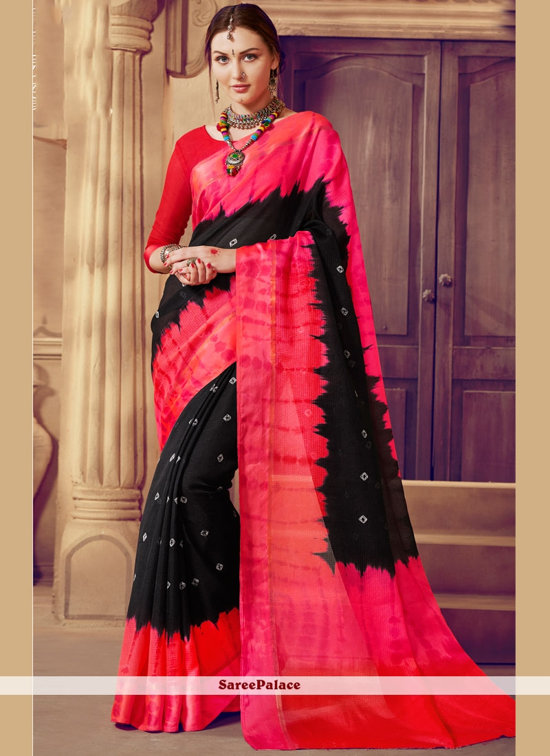 dfccead62c Buy Scintillating Weaving Work Black and Red Saree Online