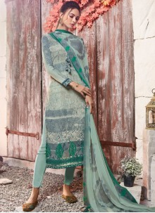 Sea Green Abstract Print Faux Crepe Designer Pakistani Suit