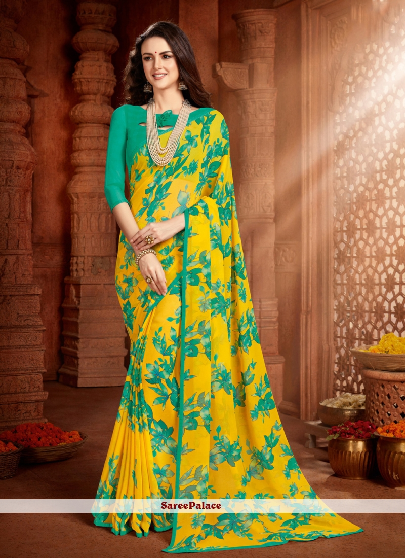 Sea Green and Yellow Faux Georgette Printed Saree
