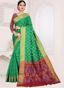 Sea Green Art Silk Cotton Weaving Casual Saree