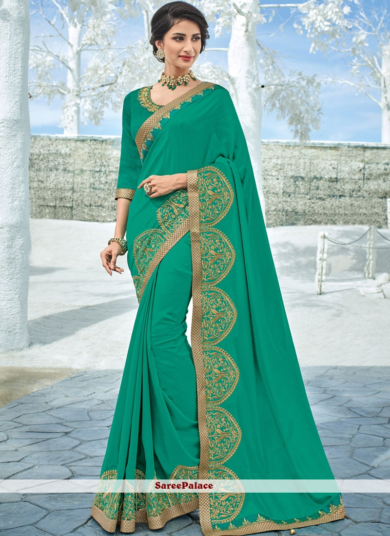 Sea Green Art Silk Festival Traditional Designer Saree