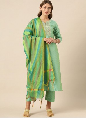 Sea Green Art Silk Readymade Suit