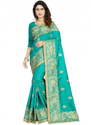 Sea Green Art Silk Reception Classic Designer Saree